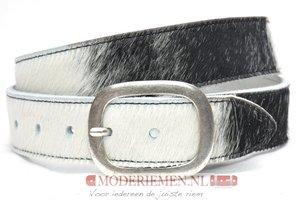 4cm jeans riem zwart witte koeienhuid van het merk Take-it