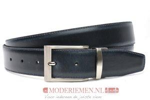 3,5cm double face pantalon riem donkerblauw- donkerbruin