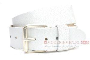 5cm witte riem - jeans riem wit crack leder witcr502PB