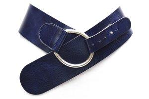 8cm donkerblauwe heupriem - brede dames riem donkerblauw bl8145