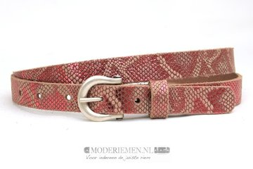 2cm roze riem - dames riem roze metallic slangenprint ph200pink