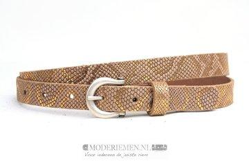 2cm gouden riem - dames riem gouden metallic slangenprint ph200gold