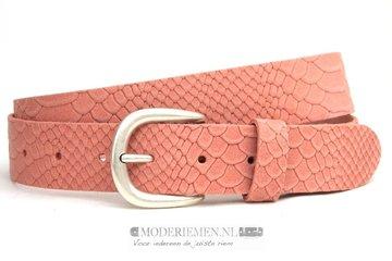 3,5cm roze riem - jeans riem roze nubuck met snake structuur roze350snake