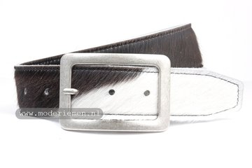 4,5cm jeans riem koebont zwart wit kz454