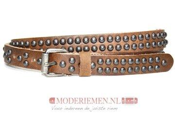 2cm bruine studriem - dames riem met ronde studs bruin br447tb
