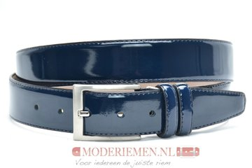 3,5cm pantalon riem blauw lakleder bllak350am