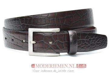 3,5cm donkerbruine pantalon riem - bruine croco riem Timbelt br509tb