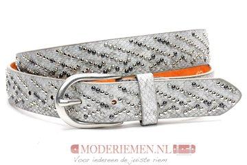 3cm zilveren jeans riem met studs zilveren studriem Joss SA608