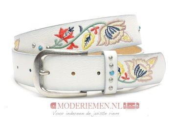 4cm witte jeans riem met stiksel witte riem Joss SA856