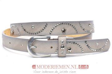2,5cm grijze jeans riem met studs en strass - grijze riem Joss SA842