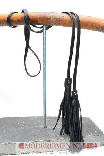 Knoop riem van zwart leder