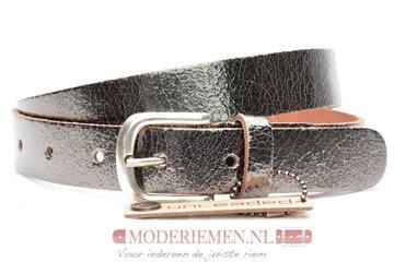 3cm ou d zilveren riem -  Unleaded dames riem zilver/brons crack leder U30877