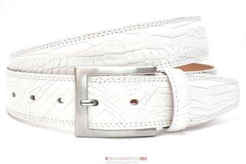 3,5cm witte pantalon riem croco -  pantalon riem wit wi510nb