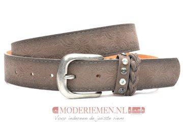 3,5cm bruine studriem -  dames riem met studs en strass donkerbruin 825