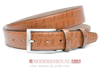 3,5cm cognac pantalon riem croco - cognac riem van leder met krokodillenprint co350crocoam