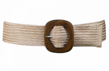 elastische riem ecru houten gesp