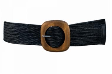 elastische riem zwart houten gesp