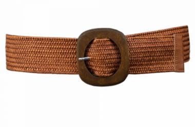 elastische riem cognac houten gesp