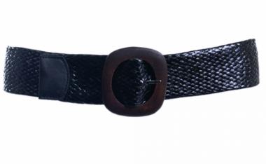 zwarte gevlochten riem houten gesp