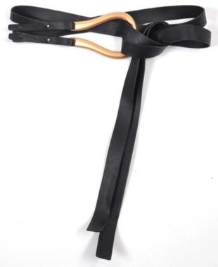 lange zwarte riem goud 40085