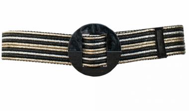 5 cm tailleriem zwart/goud/zilver LP9766