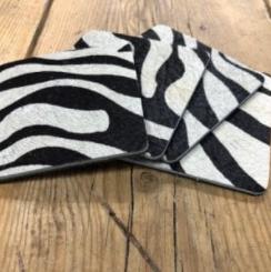 set van 6 leren onderzetters - zebra