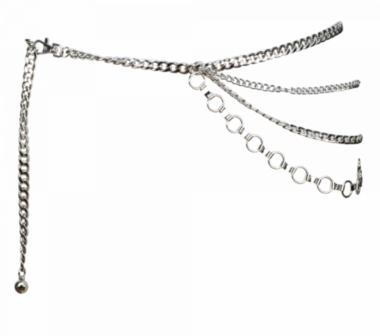 heupriem ketting zilver 4-dubbel GZ2356