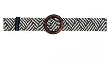 zwart/ecru raffia riem houten gesp 19762
