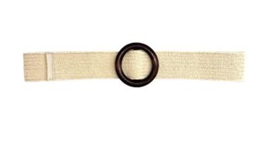 ecru raffia riem houten gesp 20871
