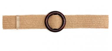 taupe raffia riem houten gesp 20871