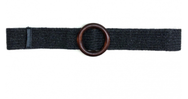 zwarte raffia riem houten gesp 20871