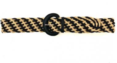 gevlochten riem zwart ecru 26159