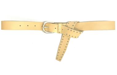 3 cm beige jeansriem met studs 30923