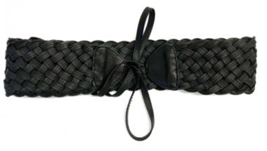 gevlochten riem zwart 35