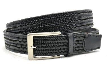 3,5 cm gevlochten elastische leren riem zwart 80093