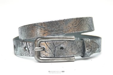 2cm kinderriem zilver - zwart metallic Take-it kzil409tb