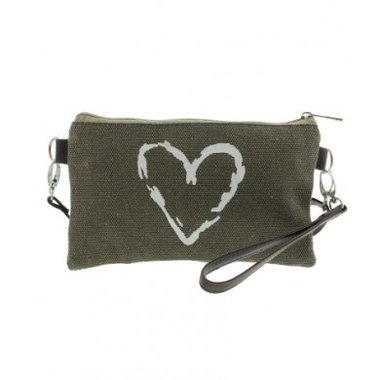 Canvas tas - clutch - portemonnee lichtbruin met hart