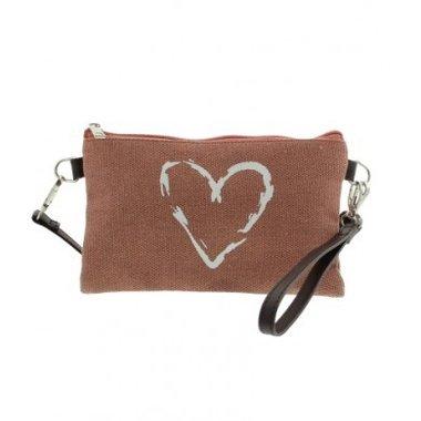 Canvas tas - clutch - portemonnee oud roze met hart