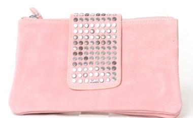 Roze suède clutch met studs - Pink