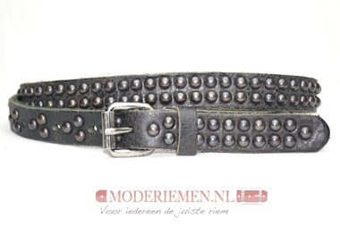 2cm zwarte studriem -  dames riem met ronde studs zwart zw447tb