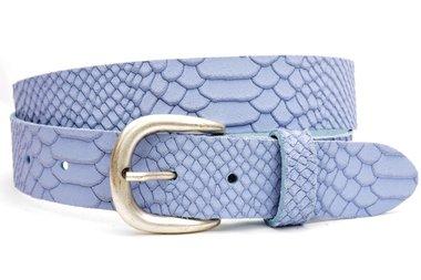 3,5cm jeans / pantalon riem lichtblauw nubuck met snake structuur lichtbl350snake