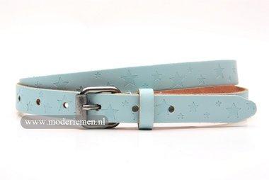 2cm dames riem blauw pastel met print. blp201