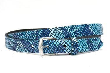 2cm dames riem met blauwe slangenprint snake62001PB