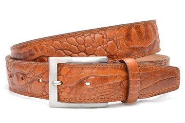 3,5cm cognac pantalon riem croco - cognac riem van volnerf leder Timbelt co510nb