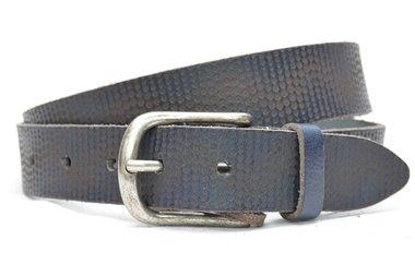 4cm gelaserde blauwe riem - jeans riem blauw laserprint blauw920