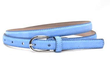 2cm lichtblauwe suède dames riem - smalle riem lichtblauw suede 200suede