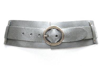 8 cm brede dames riem zilver 8200