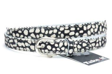 2,5 cm dames riem zwart - wit 250