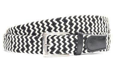 3,5 cm wit met zwart elastische riem 63007