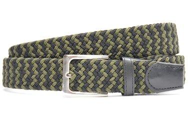3,5 cm groen met zwart elastische riem 63007